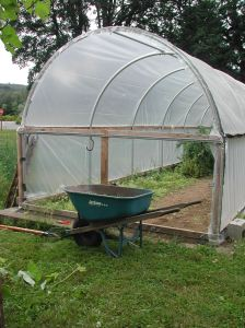 The end plastic came off the hoop house early this year.
