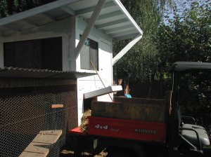 Loading up the Kabota with the coop straw to take down to the compost pile.