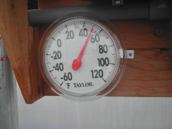 Hoop house temp today at about 11:30 am. Even on freezing, overcast days, the hoop house is a nice place to work