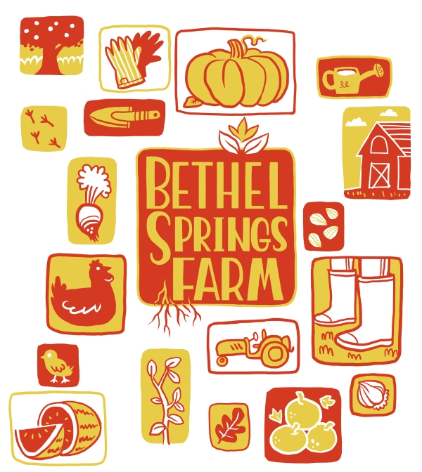 A composite of the Bethel Springs Farm logo pictures.