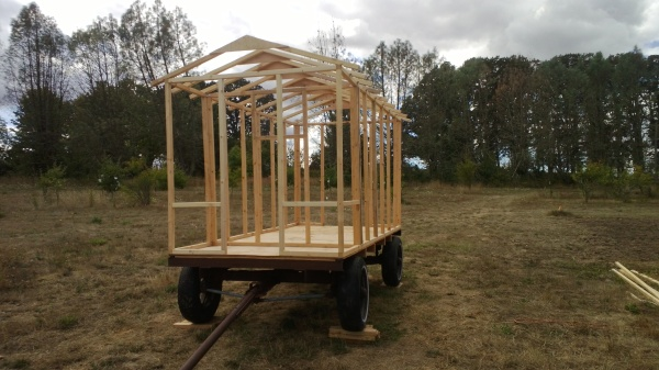 The beginning of the first mobile chicken coop